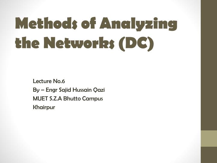 Methods of analyzing the networks dc