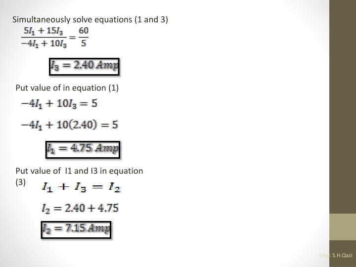 Simultaneously solve equations (1 and 3)