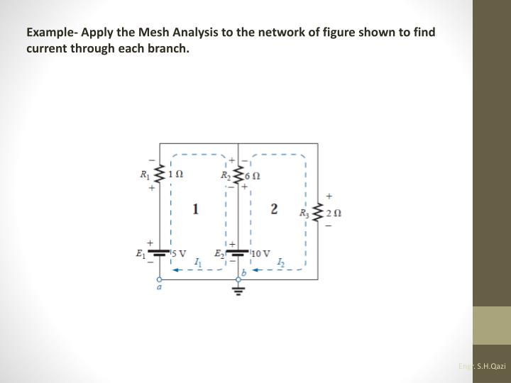 Example- Apply the Mesh Analysis to the network of figure shown to find current through each branch.