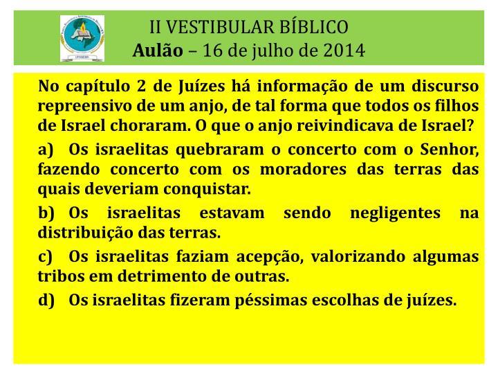 II VESTIBULAR BÍBLICO