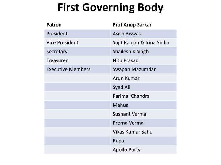 First Governing Body