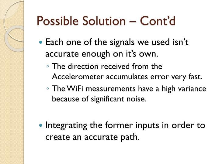 Possible Solution – Cont'd
