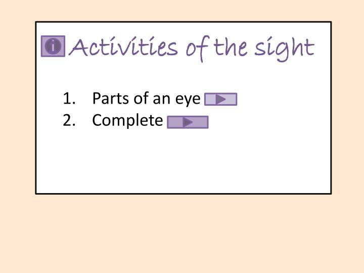 Activities of the sight