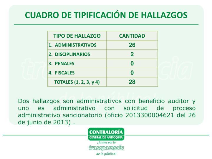 CUADRO DE TIPIFICACIÓN DE HALLAZGOS