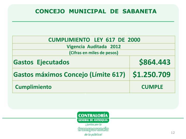 CONCEJO  MUNICIPAL  DE  SABANETA