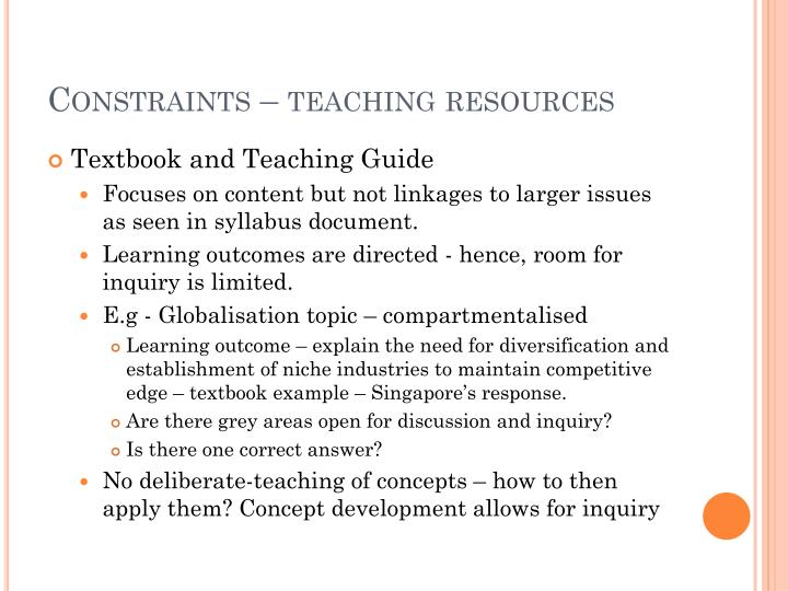 Constraints – teaching resources