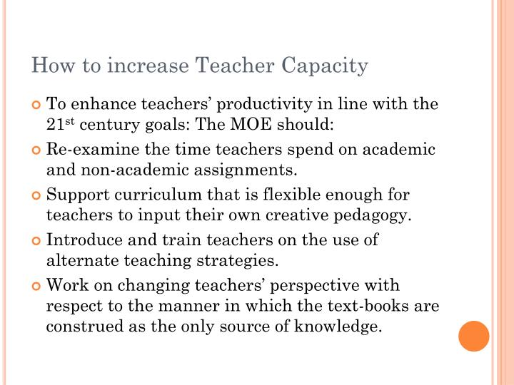 How to increase Teacher Capacity
