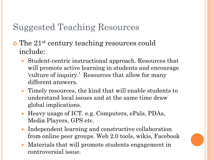 Suggested Teaching Resources