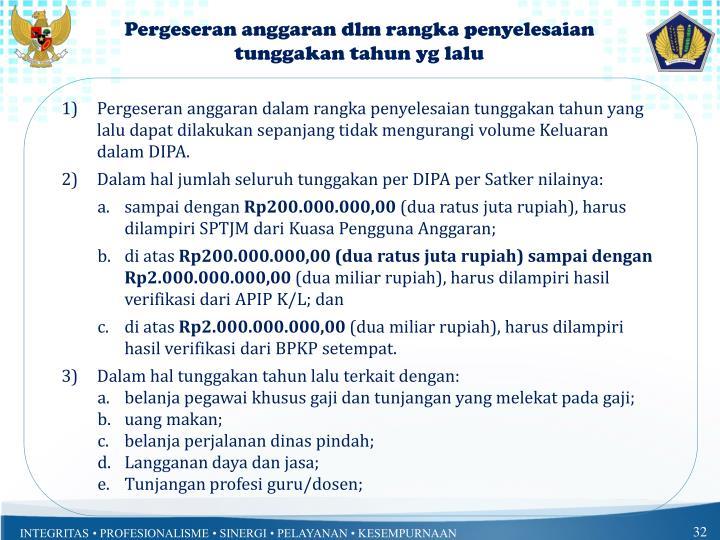 Pergeseran anggaran dlm rangka penyelesaian tunggakan tahun yg lalu