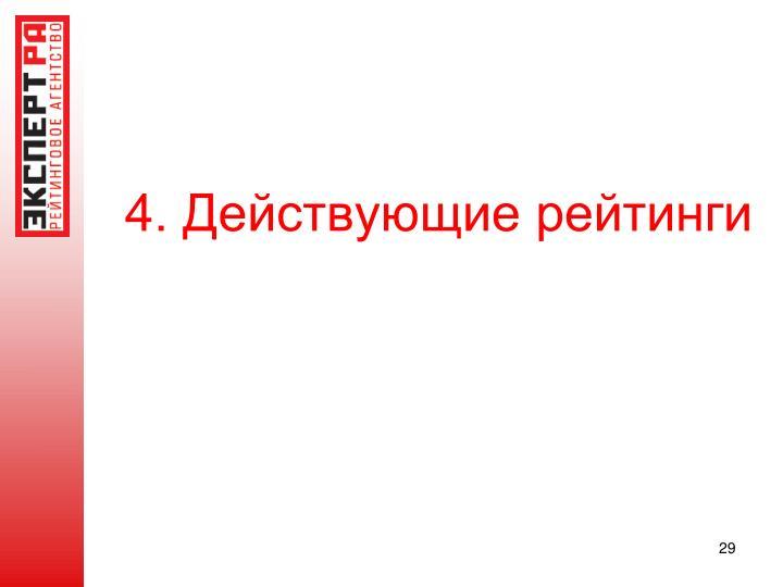 4. Действующие рейтинги