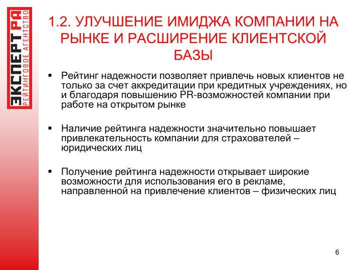1.2. УЛУЧШЕНИЕ ИМИДЖА КОМПАНИИ НА РЫНКЕ И РАСШИРЕНИЕ КЛИЕНТСКОЙ БАЗЫ