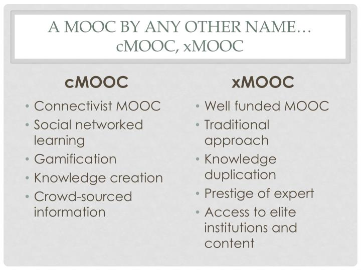 A mooc by any other name cmooc xmooc