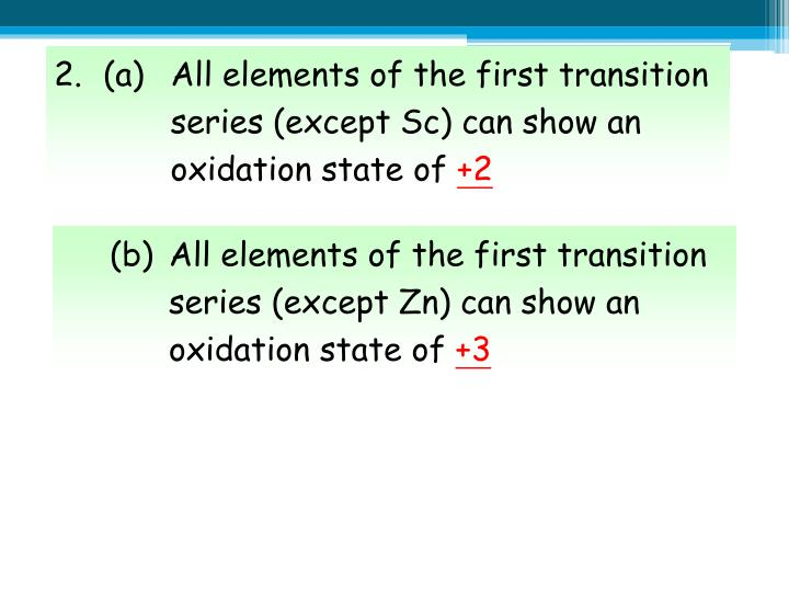 2.(a)All elements of the first transition series (except Sc) can show an oxidation state of