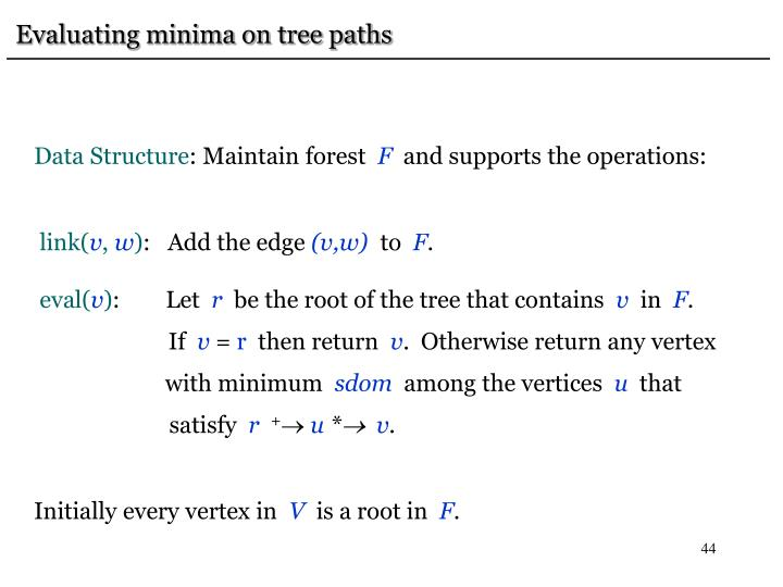 Evaluating minima on tree paths
