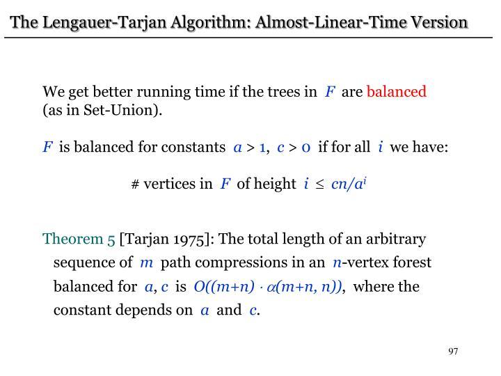 The Lengauer-Tarjan Algorithm: Almost-Linear-Time Version