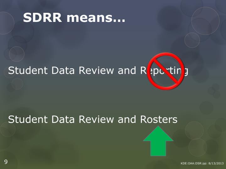 SDRR means…
