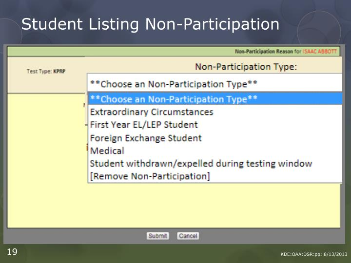 Student Listing Non-Participation