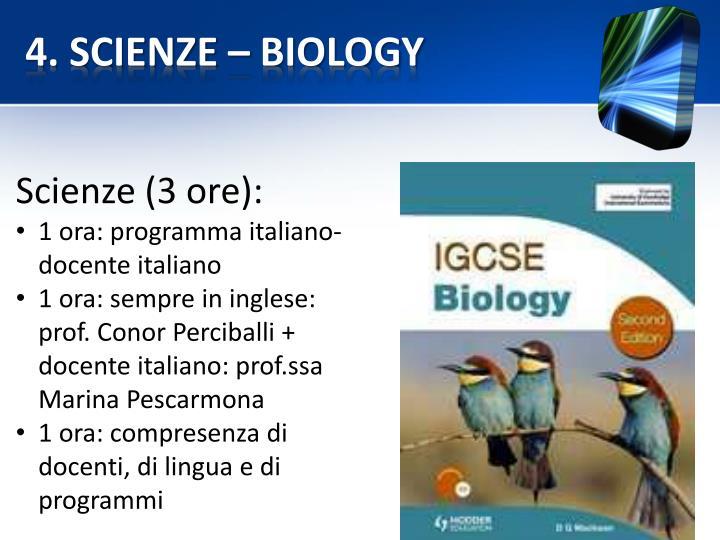 4. SCIENZE – BIOLOGY