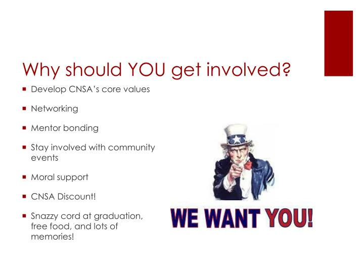 Why should YOU get involved?