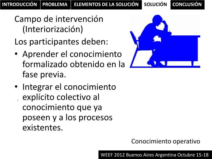 Campo de intervención (Interiorización)