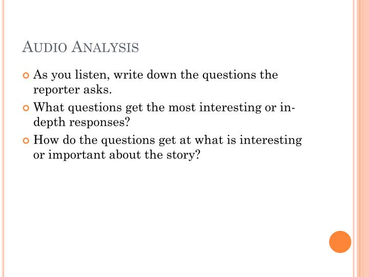 Audio analysis