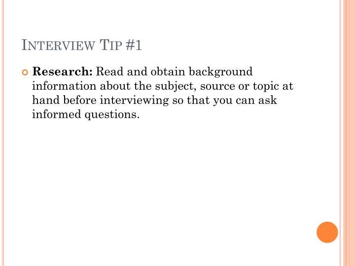 Interview tip 1