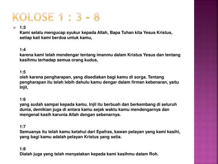 Kolose 1 3 8