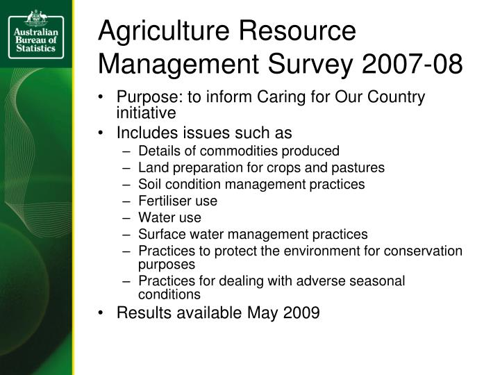 Agriculture Resource Management Survey 2007-08