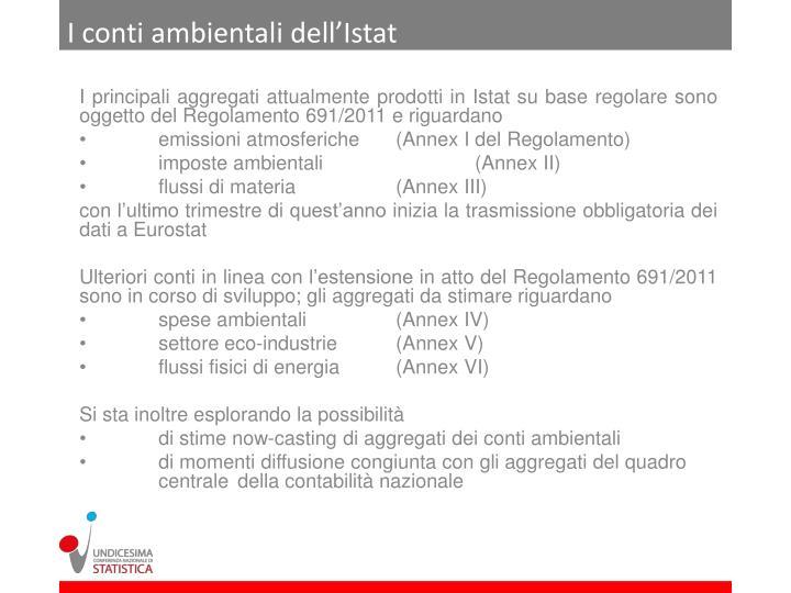 I conti ambientali dell'Istat