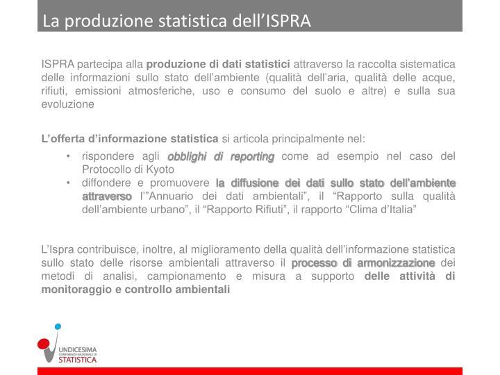 La produzione statistica dell'ISPRA