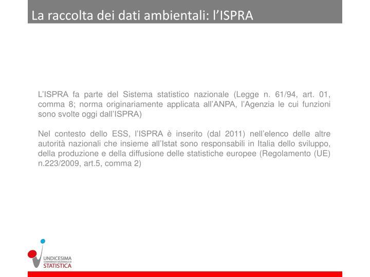 La raccolta dei dati ambientali: l'ISPRA