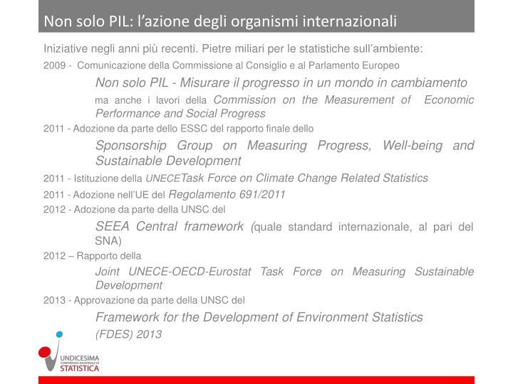 Non solo PIL: l'azione degli organismi internazionali