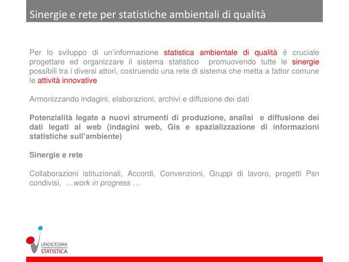 Sinergie e rete per statistiche ambientali di qualità