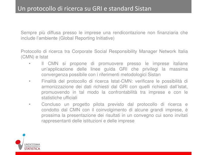 Un protocollo di ricerca su GRI e standard Sistan