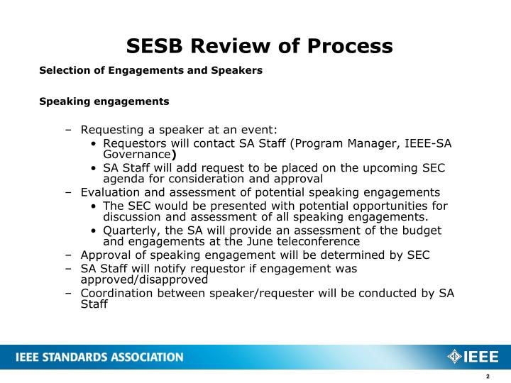 Sesb review of process