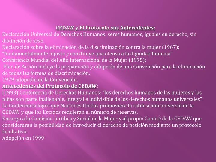 CEDAW y El Protocolo sus Antecedentes: