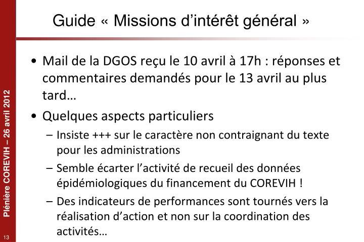 Guide «Missions d'intérêt général»