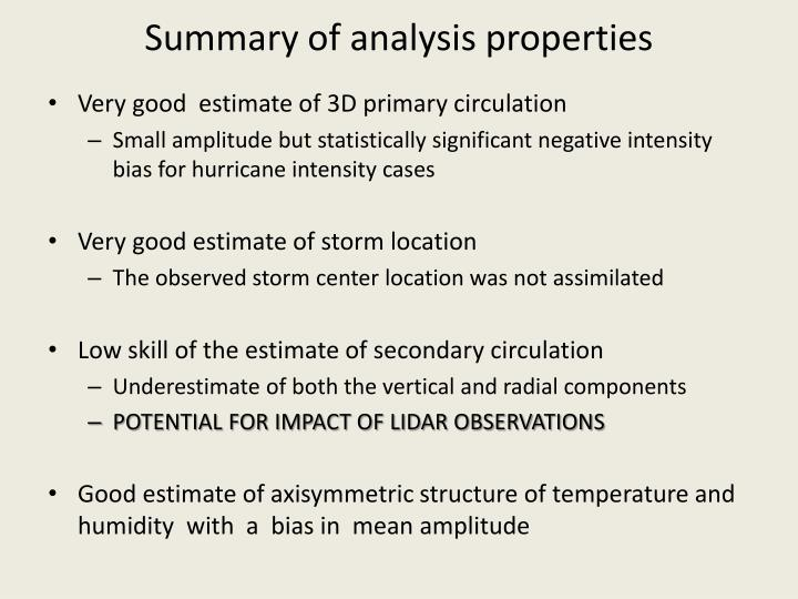 Summary of analysis properties