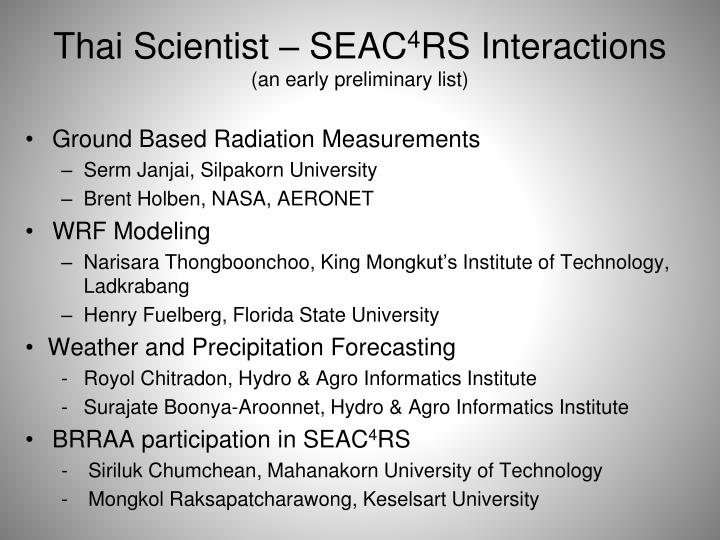 Thai scientist seac 4 rs interactions an early preliminary list
