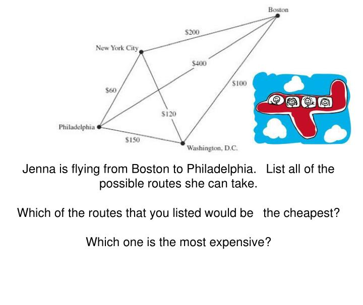 Jenna is flying from Boston to Philadelphia. 