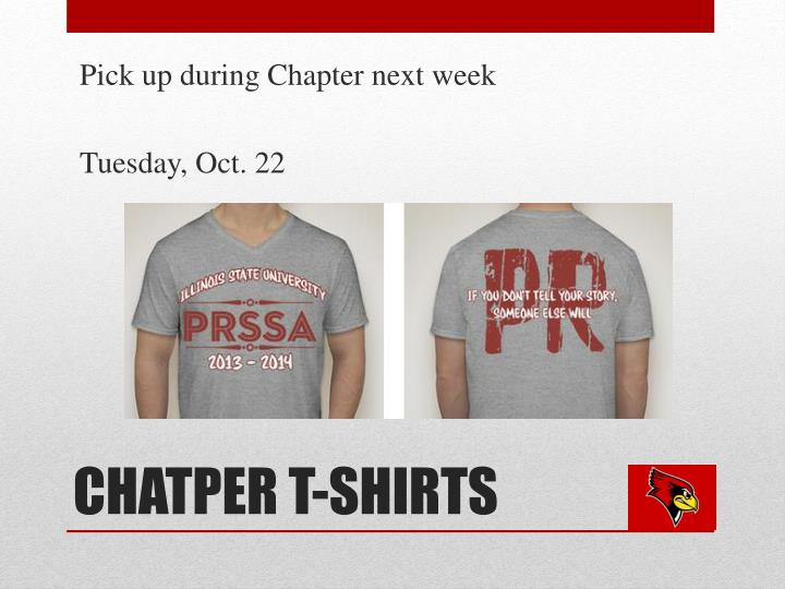 Pick up during Chapter next week