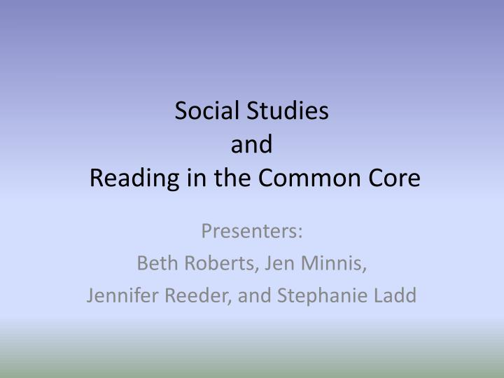 social studies and reading in the common core