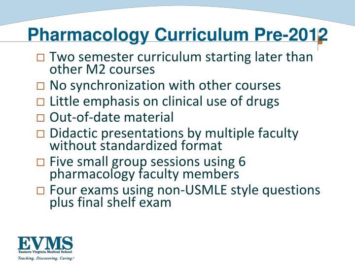 Pharmacology Curriculum Pre-2012