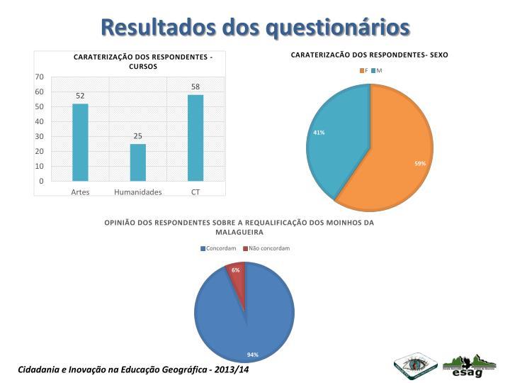 Resultados dos questionários