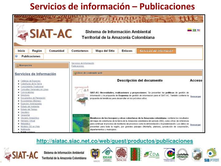 Servicios de información – Publicaciones