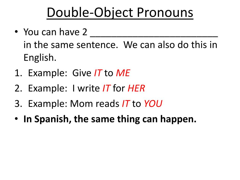 PPT - Double-Object Pronouns PowerPoint Presentation, free ...