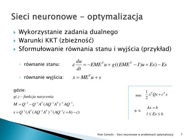 Sieci neuronowe - optymalizacja