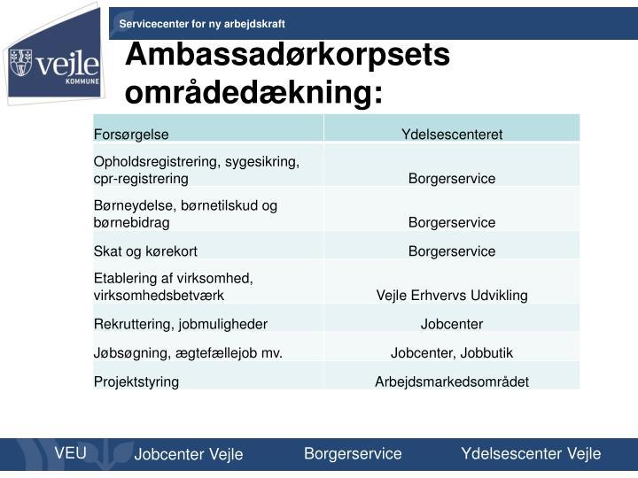 Ambassadørkorpsets områdedækning:
