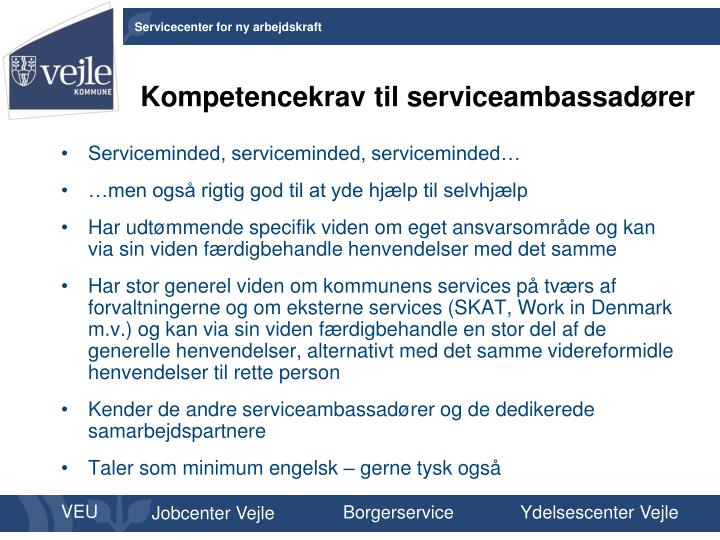 Kompetencekrav til serviceambassadører