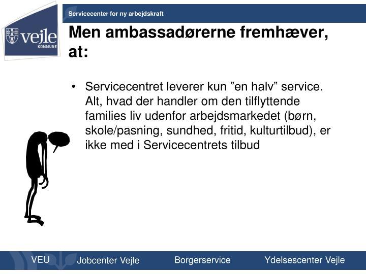 Men ambassadørerne fremhæver, at: